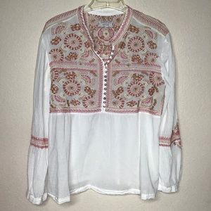 Johnny Was Workshop Boho Peasant Top Lg
